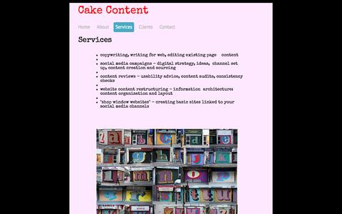 Screenshot of Services Page cakecontent.com - Services - cake consultancy ltd - captured Oct. 1, 2014