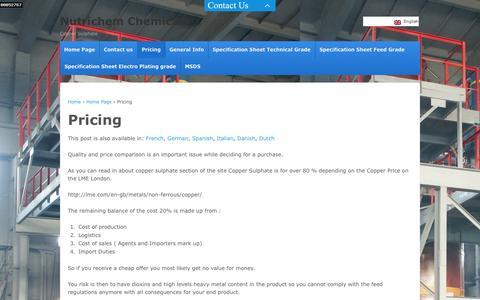 Screenshot of Pricing Page nutrichem.nl - Pricing | Nutrichem Chemicals - captured Oct. 7, 2014