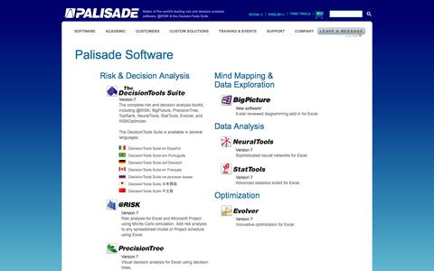 Screenshot of Products Page palisade.com - Products: Risk & Decision Analysis, Simulation, Optimization & Statistical Software - Palisade - captured Jan. 23, 2016