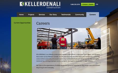 Screenshot of Jobs Page kellerdenali.com - Careers • KELLERDENALI Construction - captured Oct. 6, 2014