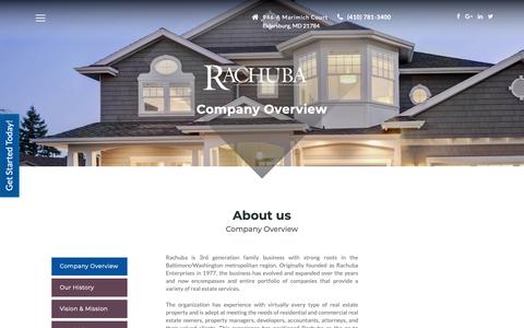 Screenshot of About Page rachubarealestateadvisors.com - Company Overview - Rachuba - captured Oct. 18, 2018
