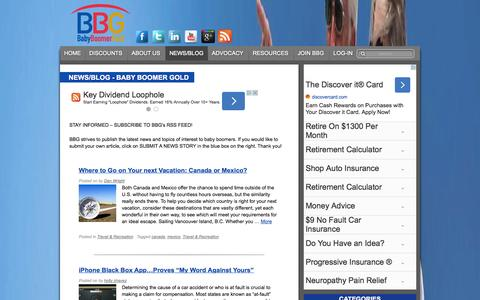Screenshot of Press Page babyboomergold.com - News/Blog - Baby Boomer Gold - captured Sept. 25, 2014