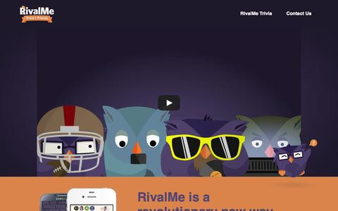 Screenshot of Home Page rivalme.com - RivalMe - Innovative Trivia - captured Oct. 7, 2014