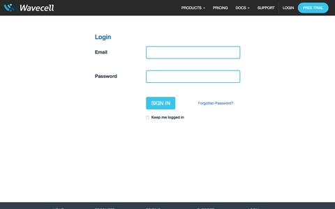Screenshot of Login Page wavecell.com - Wavecell | Login � access your account - captured Jan. 10, 2016