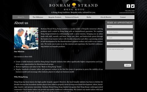Screenshot of About Page bonhamstrand.hk - About us - Hong Kong Tailor of Bespoke Suits, Wedding Suits & Shirts - Bonham Strand Hong Kong Limited (天裁行) - captured Sept. 30, 2014