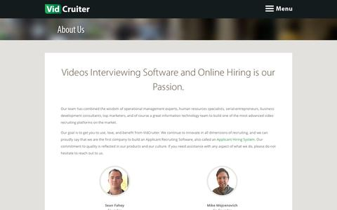 Screenshot of About Page vidcruiter.com - Video Interviewing Software and Online Hiring - VidCruiter - captured June 13, 2017