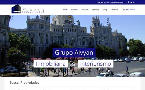Screenshot of Home Page alvyan.com - Grupo Alvyan – Inmobiliaria | Inmobiliaria en Madrid - captured Sept. 17, 2015
