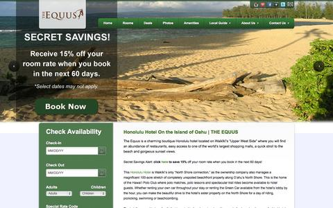 Screenshot of Home Page equushotel.com - The Equus - A Waikiki Hotel - captured Oct. 6, 2014