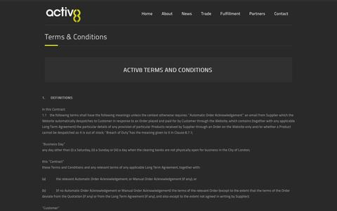 Screenshot of Terms Page a8uk.com - Terms & Conditions   A8UK – Activ8 UK Distribution - captured Sept. 18, 2014