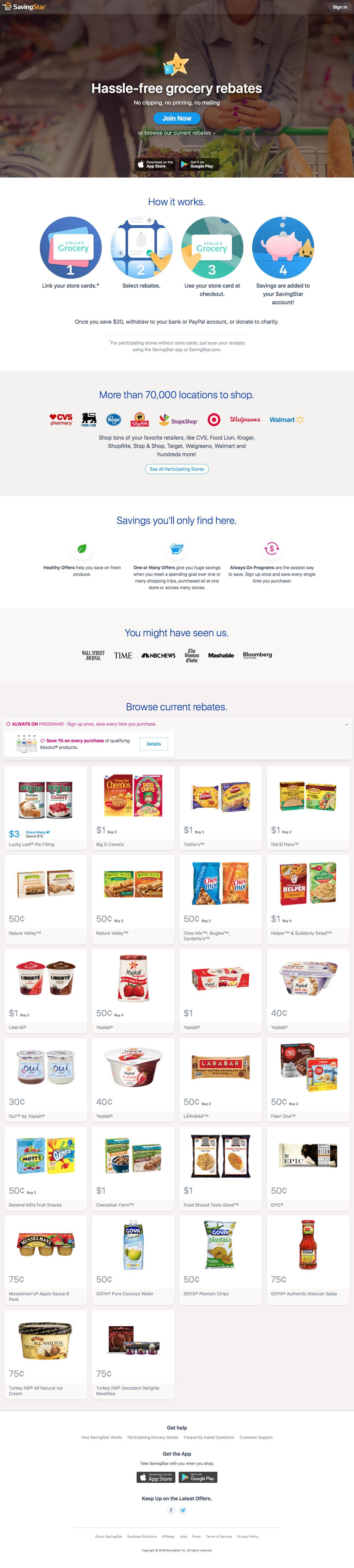 Screenshot of savingstar.com - SavingStar | Cash back on groceries with coupons & deals - captured June 17, 2018