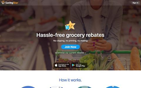 Screenshot of Home Page savingstar.com - SavingStar | Cash back on groceries with coupons & deals - captured June 17, 2018