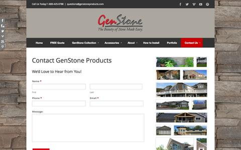 Screenshot of Contact Page genstoneproducts.com - Contact Us | Faux Stone | Faux Stone Panels | Stone Siding - captured Nov. 1, 2014