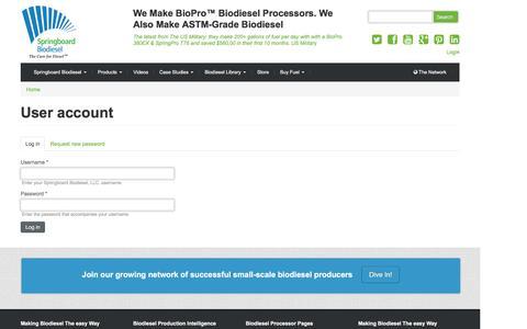 Screenshot of Login Page springboardbiodiesel.com - User account | Springboard Biodiesel, LLC. - captured July 7, 2016