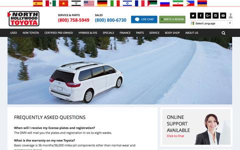 Screenshot of FAQ Page northhollywoodtoyota.com - FAQ Toyota Los Angeles | northhollywoodtoyota.com - captured Feb. 10, 2017