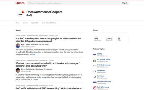 Topic Feed in PricewaterhouseCoopers (PwC) - Quora