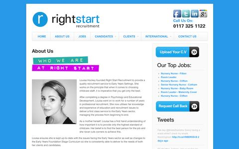 Screenshot of About Page rightstartrecruit.com - About Us | Right Start Recruitment - captured Oct. 26, 2014
