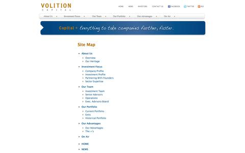 Screenshot of Site Map Page volitioncapital.com - Volition Capital :: Site Map - captured Oct. 1, 2014