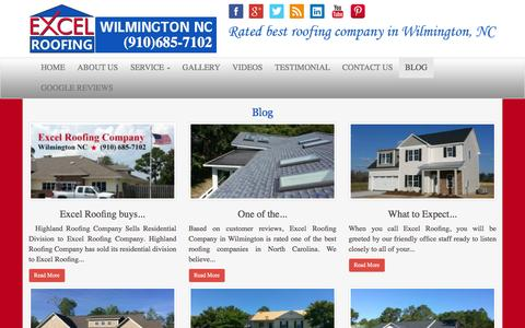 Screenshot of Blog excelroofingnc.com - Blog - Excel Roofing Company : Roofing Wilmington NC | Roof Contractor - captured Feb. 1, 2016