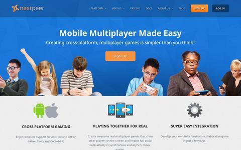 Screenshot of Home Page nextpeer.com - Home | Nextpeer - captured Sept. 11, 2014