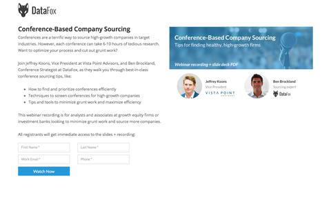 Screenshot of Landing Page datafox.com - Conference-Based Company Sourcing - captured March 4, 2018