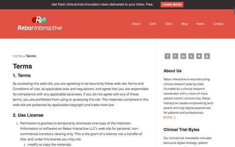 Screenshot of Terms Page rebarinteractive.com - Terms | Rebar Interactive - captured Dec. 16, 2016