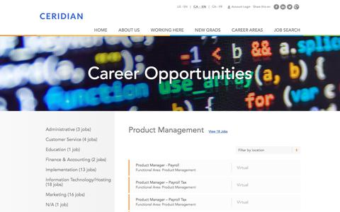 Screenshot of Jobs Page ceridian.ca - Product Management Careers | Career Opportunities | Careers at Ceridian | Join a global leader in human capital management technology! - captured July 2, 2018