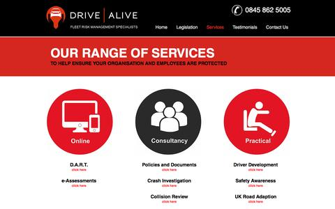 Screenshot of Services Page drivealive.co.uk - Drive Alive | Fleet Risk Management | Services - captured Jan. 25, 2017