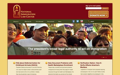 Screenshot of Home Page nilc.org - Home - National Immigration Law Center - captured Sept. 25, 2014