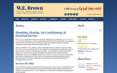 Screenshot of Services Page webrown.com - Heater and Air Conditioner Repair and Installation Contractor - captured Nov. 12, 2017