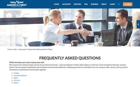 Screenshot of FAQ Page americafirst.com - Frequently Asked Questions- America First Credit Union - captured Aug. 17, 2019