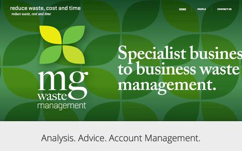 Screenshot of Home Page mgwastemanagement.com.au - MG Waste Management | reduce waste, cost and time - captured Sept. 30, 2014