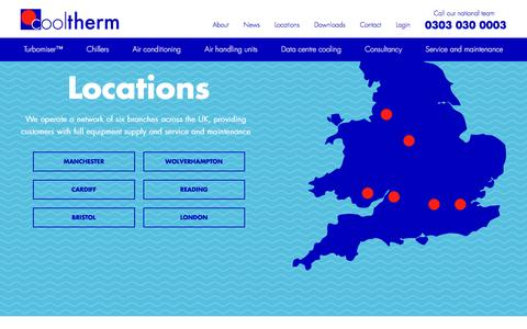 Screenshot of Locations Page cooltherm.co.uk - Locations | Cool Therm - captured Dec. 12, 2015