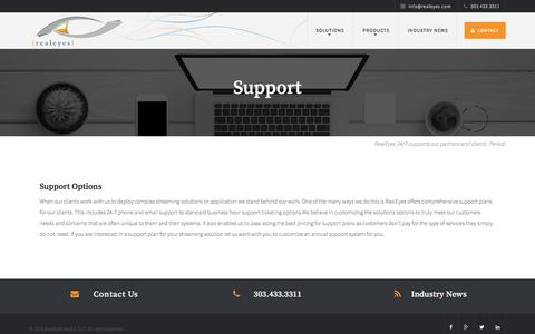 Screenshot of Support Page realeyes.com - Support - RealEyes - captured Nov. 15, 2016