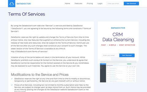 Screenshot of Terms Page datadoctorit.com - Terms Of Services - DataDoctor - captured Feb. 8, 2016