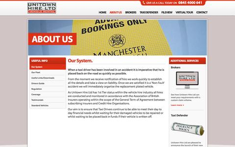 Screenshot of About Page unitownhire.co.uk - Replacement Taxis Private Hire Vehicles Accidents - Unitown - captured Oct. 10, 2014
