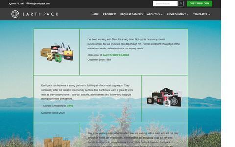 Screenshot of Testimonials Page earthpack.com - What They Say | E A R T H P A C K - captured May 14, 2017
