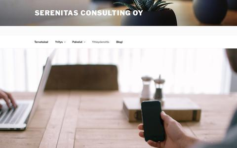 Screenshot of Contact Page wordpress.com - Yhteydenotto – Serenitas Consulting Oy - captured Sept. 30, 2017