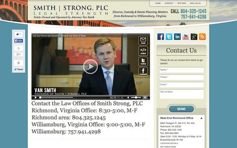 Screenshot of Contact Page Locations Page smithstrong.com - Contact Us | Virginia Family Attorney | Richmond to Williamsburg | Smith Strong, PLC - captured Oct. 26, 2014