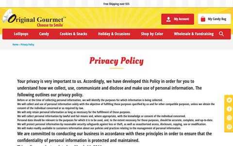 Screenshot of Privacy Page ogfc.net - Privacy Policy                              – Original Gourmet Food Co - captured Oct. 18, 2018
