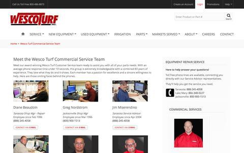 Screenshot of Team Page wescoturf.com - Wesco Turf Commercial Service Team - Wesco Turf - captured Oct. 13, 2016