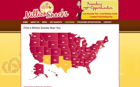 Screenshot of Locations Page millionsnacks.com - Find a Million Snacks Near You! | Million Snacks Franchise Opportunities - captured Oct. 9, 2014