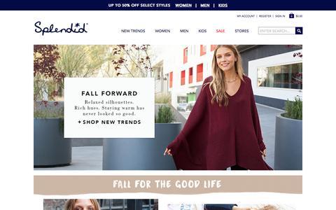 Screenshot of Home Page splendid.com - Splendid¨   Casual Comfortable Clothes for Women, Men & Kids - captured Oct. 29, 2015