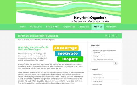 Screenshot of Support Page katyhomeorganizer.com - Organizing Support & Encouragement - captured Jan. 9, 2016