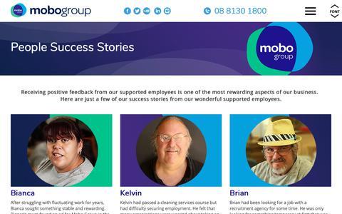 Screenshot of Case Studies Page mobogroup.com.au - People Success Stories - captured Oct. 23, 2018