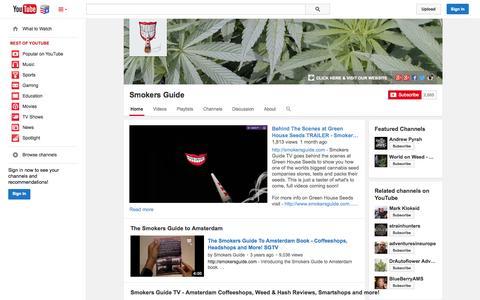 Screenshot of YouTube Page youtube.com - Smokers Guide  - YouTube - captured Nov. 5, 2014