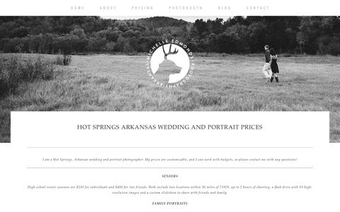 Screenshot of Pricing Page michelleedmonds.com - Hot Springs Arkansas Wedding and Portrait Prices » Michelle Edmonds Photography - captured Feb. 13, 2016