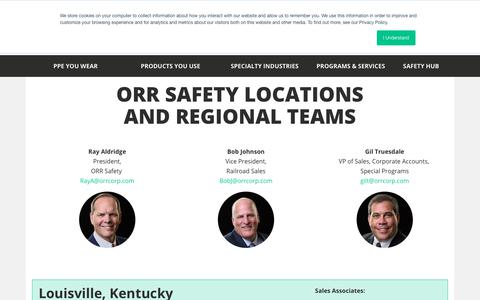 Screenshot of Locations Page orrsafety.com - Safety Equipment Store Locations | ORR Safety - captured Sept. 20, 2018