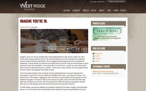 Screenshot of Blog westridge.com - West Ridge Church: Blog - captured Sept. 24, 2014