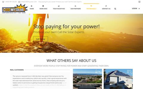 Screenshot of Testimonials Page 1800mysolar.com - We offer the best service and solar products to our customers.   1-800-MY-SOLAR - captured Nov. 4, 2014