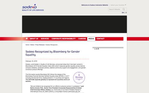 Screenshot of Press Page sodexo.com - Sodexo Recognized by Bloomberg for Gender Equality - captured July 8, 2019
